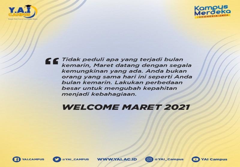 Welcome Maret 2021